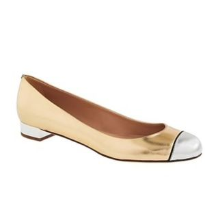 J.crew Janey leather gold silver cap flats size 8